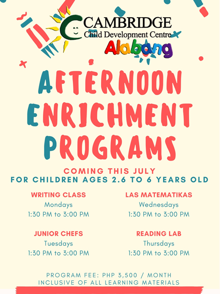 afternoon enrichment programs poster