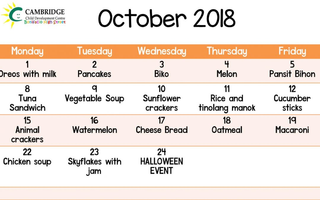 Snack Plan for October 2018