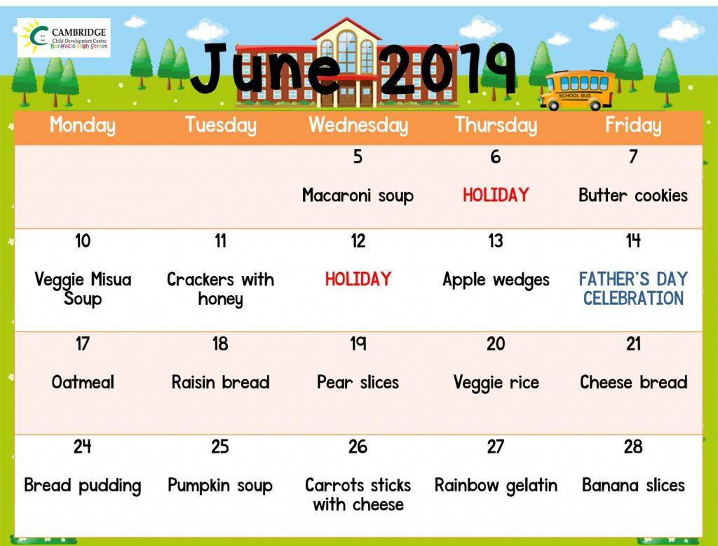 June 2019 snacks