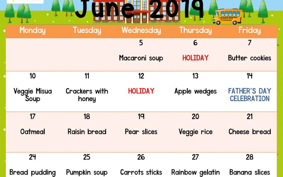 Snack Plan for June 2019