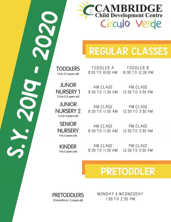 REGULAR CLASS SCHEDULE