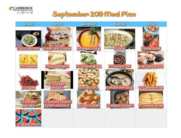 September 2019 Meal Plan