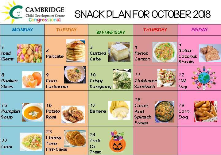 October 2018 Snack Plan image