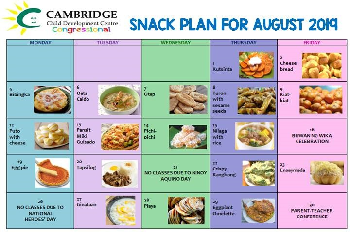 August 2019 Snack Plan