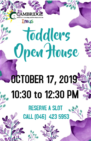 Toddlers Open House October 17 2019