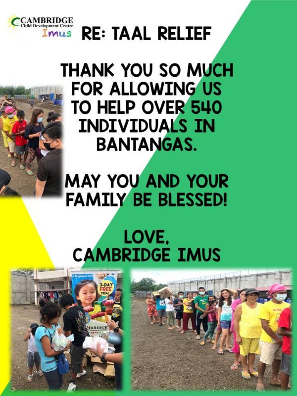 Cambridge Imus - Thank you for your help