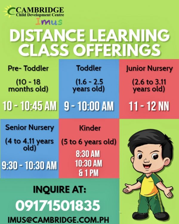 Cambridge Imus Distance Learning Class Offerings