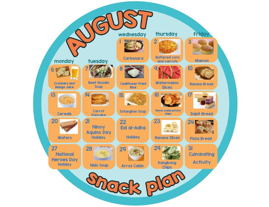 Cambridge Las Piñas August 2018 snack plan