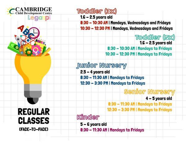 Cambridge Legaspi Regular Class Schedule