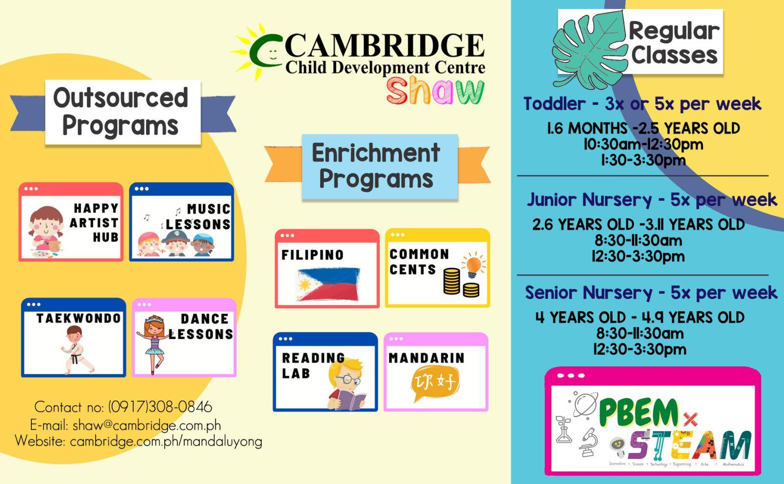 Cambridge Child Development Centre Shaw - Program Offerings