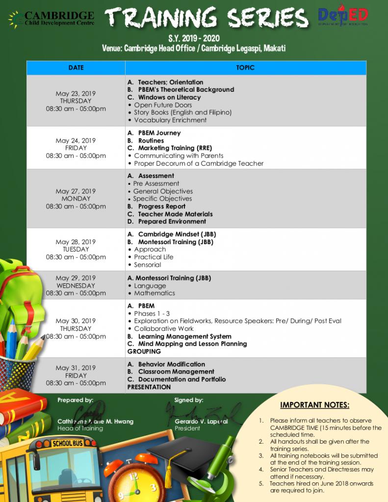 Training Schedule 2019-2020