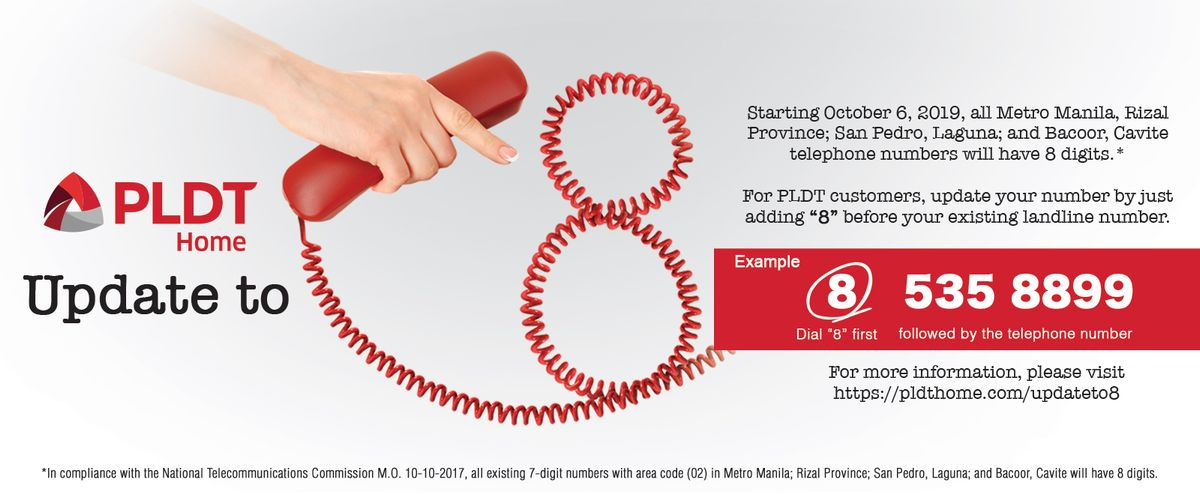 PLDT customer phone number change announcement
