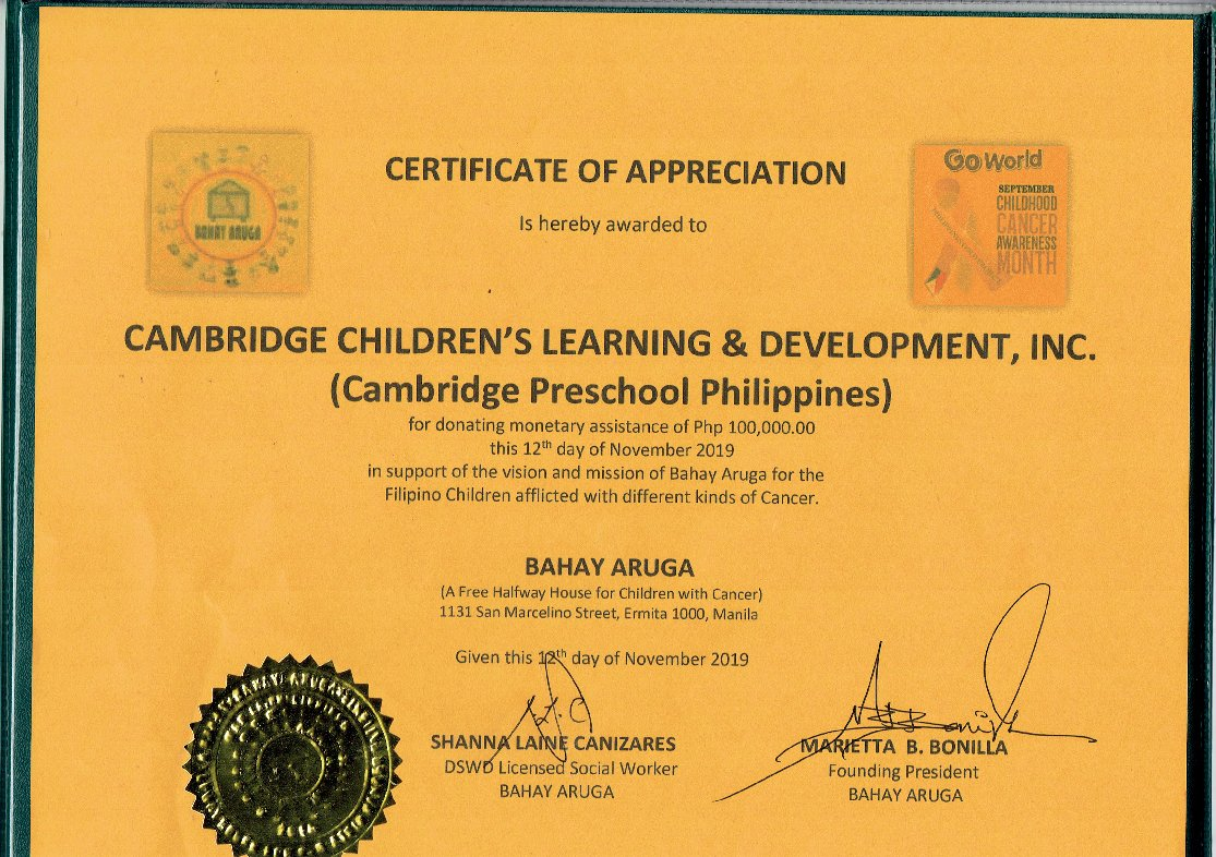 Bahay Aruga - Certificate of Appreciation