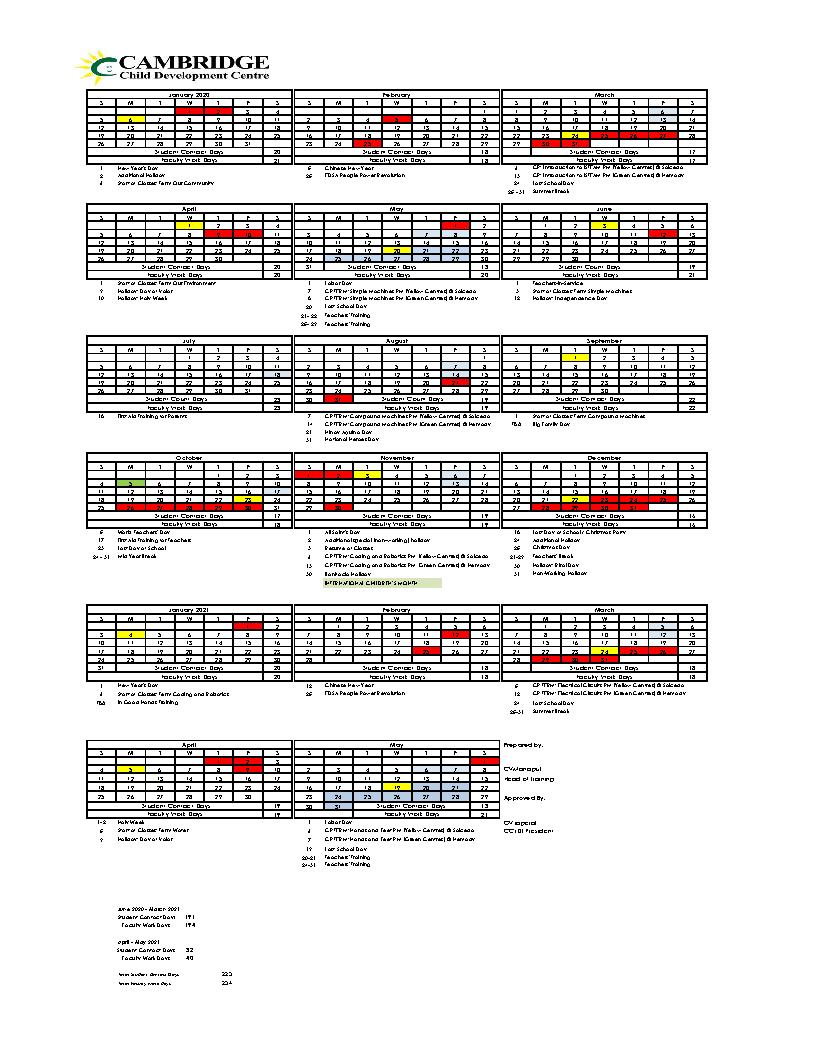 Academic Calendar 2020 - 2021 document preview image