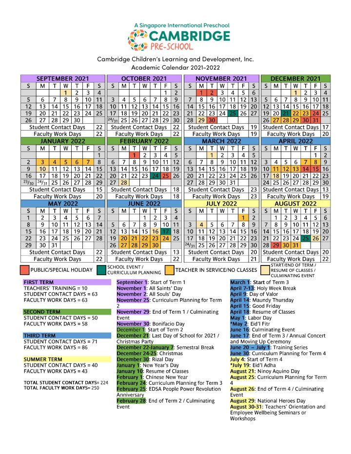 Cambridge Children's Learning and Development Academic Calendar SY 2021-2022